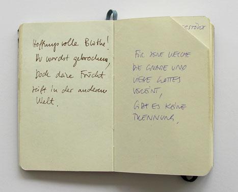 Meine Lieben 3, Notizbuch mit gesammelten Grabinschriften, Simona Koch